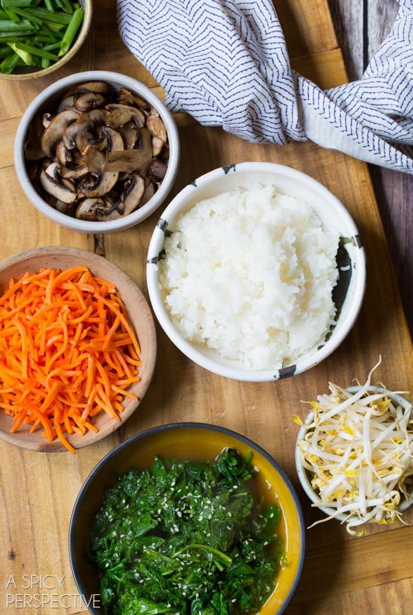 Making Korean Bibimbap - Rice and Veggie Bowl with a Fried Egg and Gochujang Sauce #vegetarian #healthy #Korean