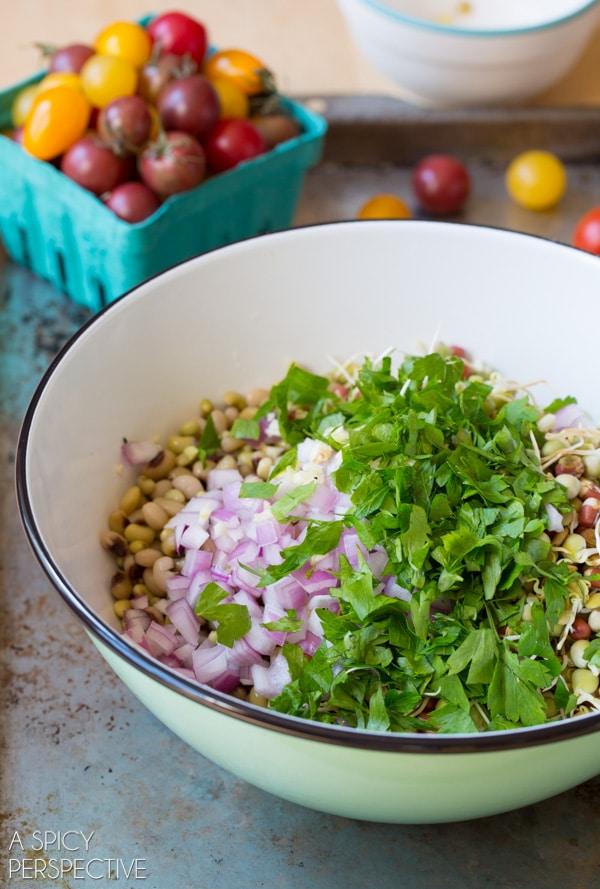 Red Onion and Parsley #ASpicyPerspective #Bean #Salad #BeanSalad #BeanSaladRecipe #Healthy #Vegan #GlutenFree #Vegetarian #Tomatoes #BlackEyedPeas #FieldPeas #Lentils