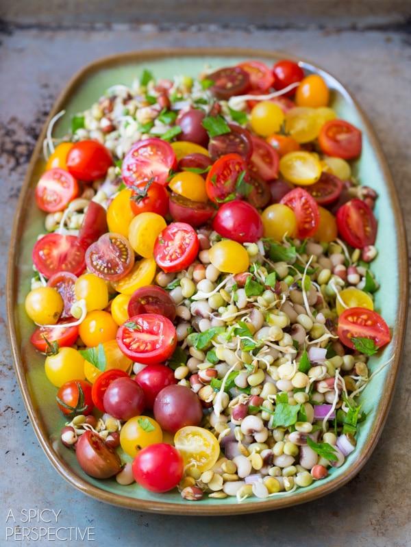 Bean Salad #ASpicyPerspective #Bean #Salad #BeanSalad #BeanSaladRecipe #Healthy #Vegan #GlutenFree #Vegetarian #Tomatoes #BlackEyedPeas #FieldPeas #Lentils