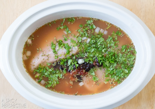 Making Slow Cooker Chicken Enchilada Soup #slowcooker #crockpot #healthy