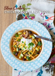 Slow Cooker Chicken Enchilada Soup #slowcooker #crockpot #healthy