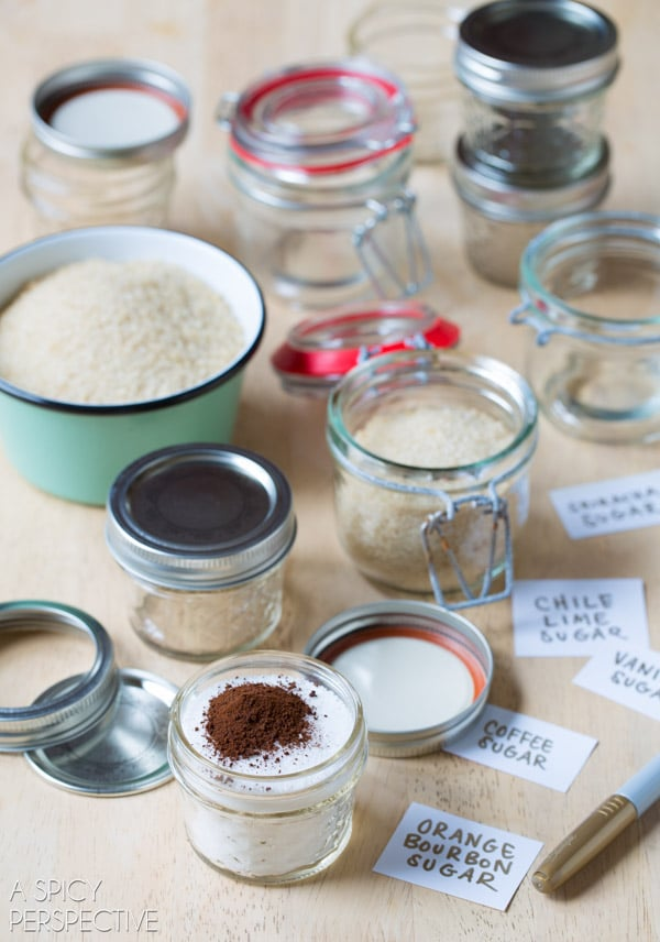 How to Make Easy Flavored Sugars - Flavored Sugar Recipes #ediblegifts #homemadegifts