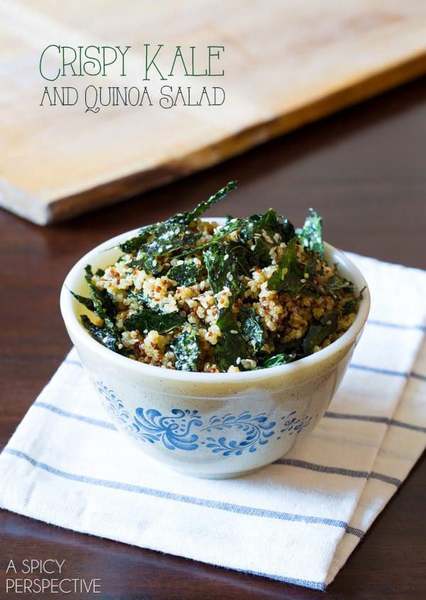 Crispy Kale and Quinoa Salad #healthy #glutenfree #vegan #quinoa #kale