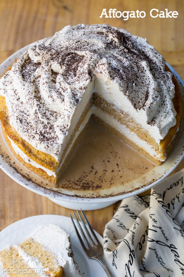 Amazing Affogato Cake - Silky luxurious cake with espresso cream! #holiday #espresso #cake