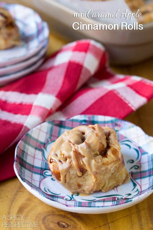Look at these! Mini Caramel Apple Cinnamon Rolls #caramelapple #cinnamonrolls