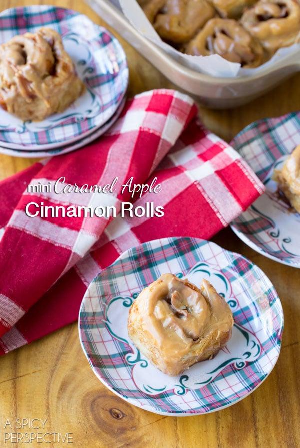 Awesome Mini Caramel Apple Cinnamon Rolls #caramelapple #cinnamonrolls