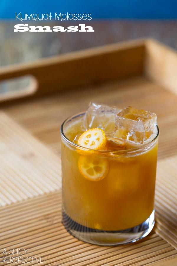 3 Ingredient Kumquat Molasses Smash #Cocktail