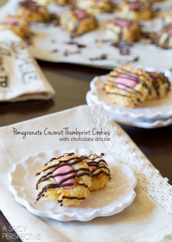 Salty-Sweet Pomegranate Coconut Thumbprint Cookies with Chocolate Drizzle #christmas #holiday #cookies