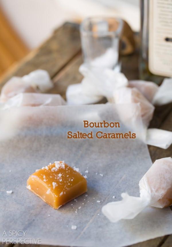 Salted Caramel Candy Recipe with a hint of Bourbon! #caramel #saltedcaramel #holiday #homemade