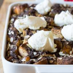 Tiramisu French Toast Casserole with Chocolate Almond Crumble and Whipped Mascarpone Cream #tiramisu #frenchtoast #holiday #christmas