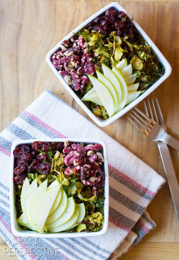 Gorgeous Roasted Brussels Sprouts Salad with Green Apple, Walnuts, Cranberries, and Maple Champagne Vinaigrette