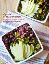Roasted Brussels Sprouts Salad with Green Apple, Walnuts, Cranberries, and Maple Champagne Vinaigrette