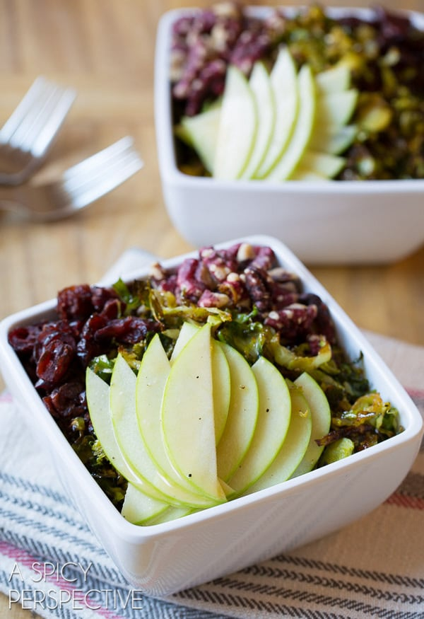 Easy Roasted Brussels Sprouts Salad with Green Apple, Walnuts, Cranberries, and Maple Champagne Vinaigrette