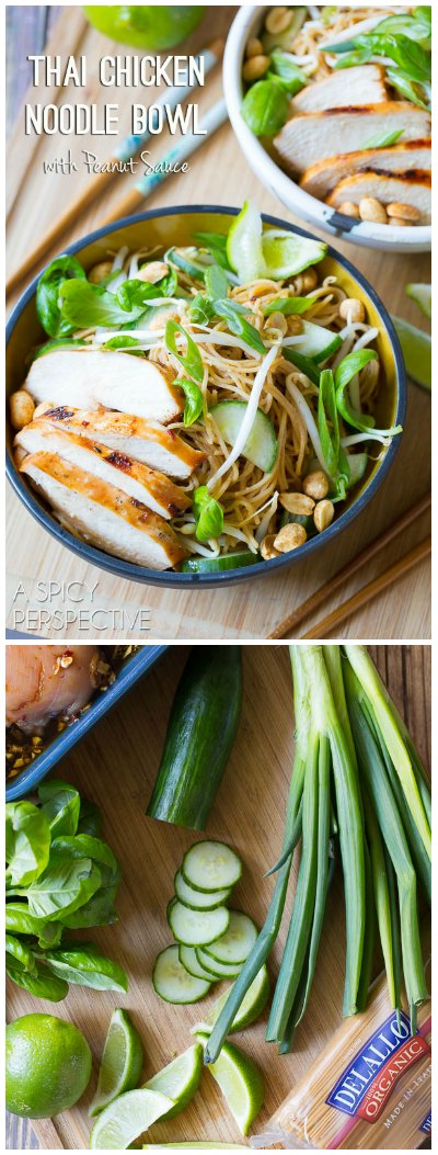 Awesome Thai Chicken Noodle Bowl with Peanut Sauce!