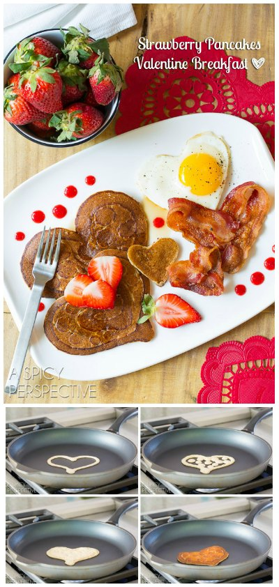 Making Valentine's Day breakfast with Strawberry Heart Pancakes ( Pancake Art!)
