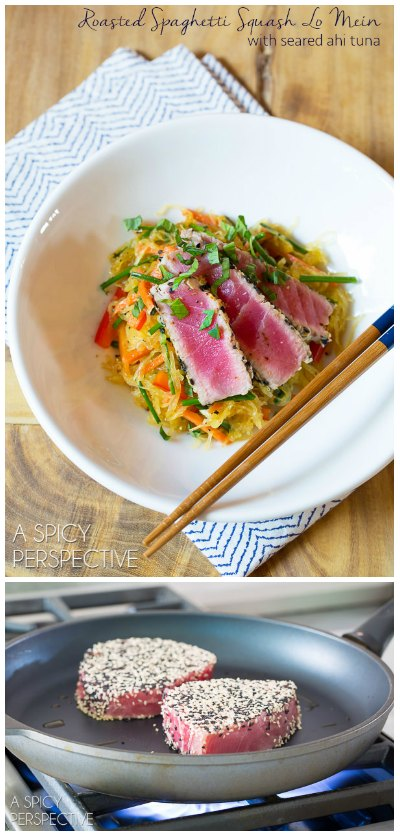 Love this Roasted Spaghetti Squash Lo Mein!