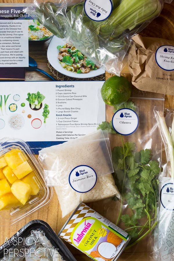 Ingredients for Homemade Dinners with Blue Apron - Chinese Five Spice Shrimp