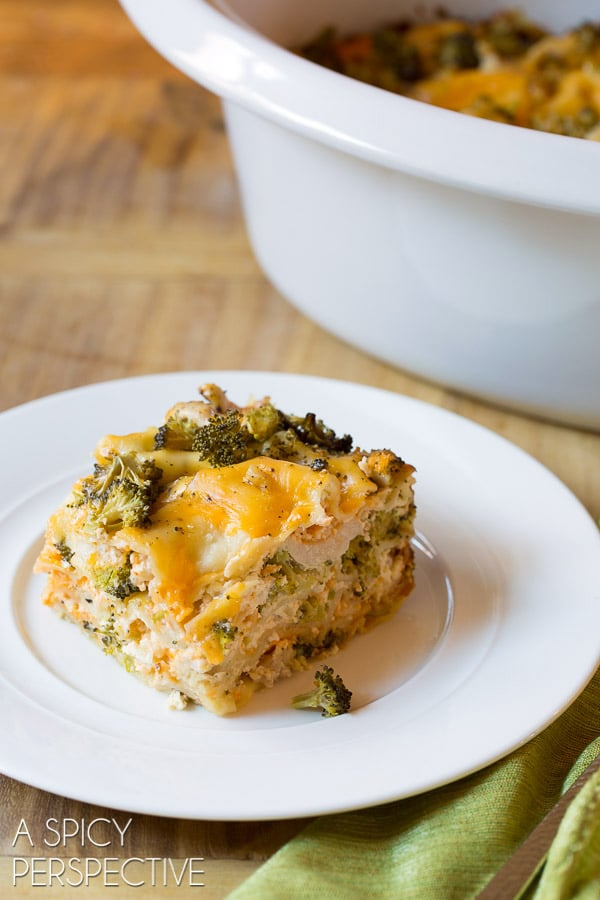 Comforting Chicken Broccoli Slow Cooker Lasagna