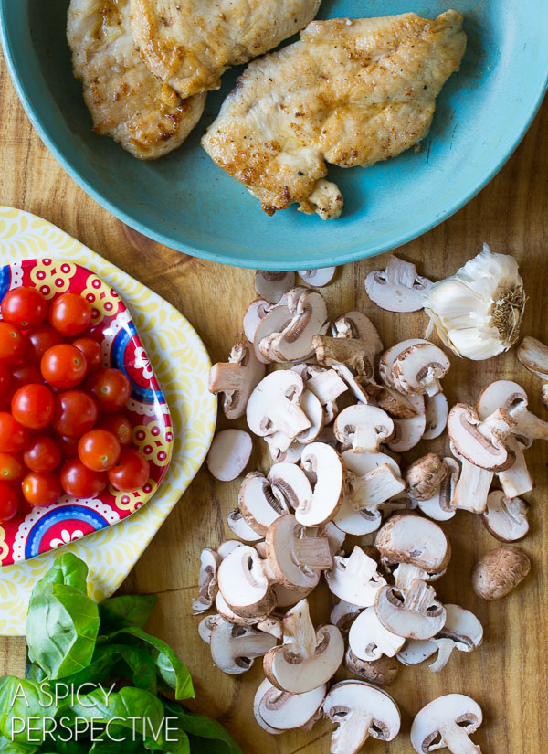 Making Healthy Chicken Marsala Recipe with Tomatoes and Basil #glutenfree