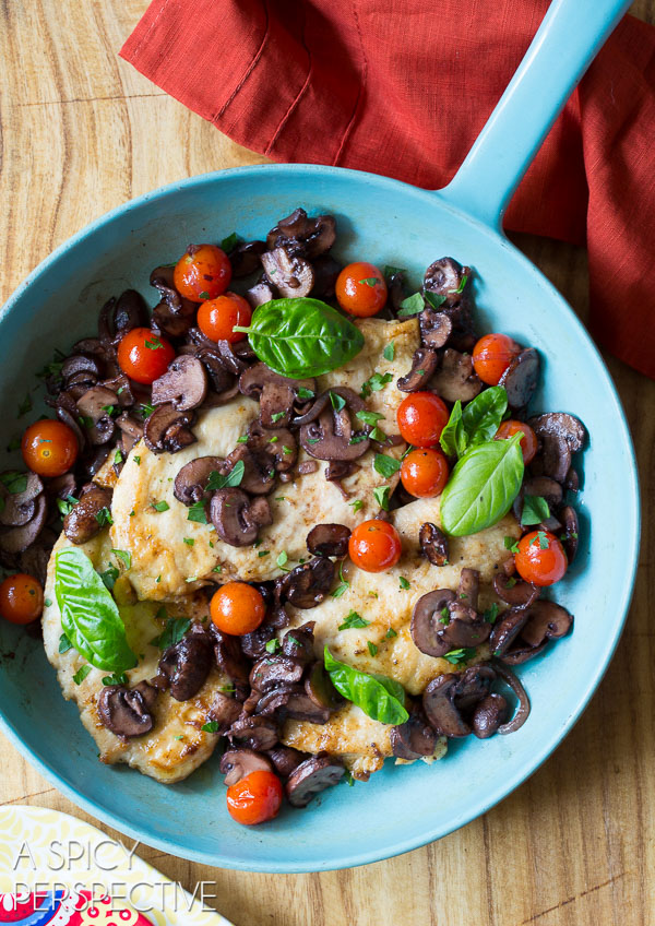 The Best Healthy Chicken Marsala Recipe with Tomatoes and Basil