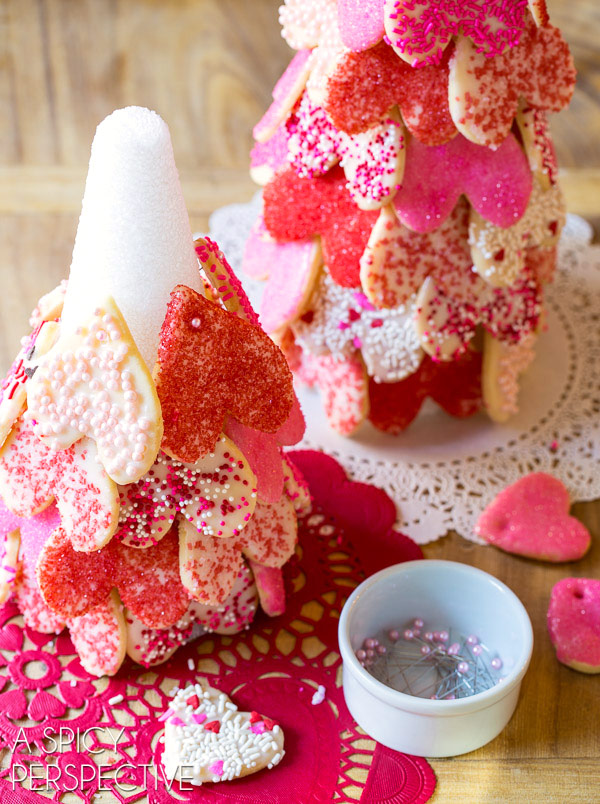 Valentine Heart Trees with our Cut Out Cookie Recipe on ASpicyPerspective.com