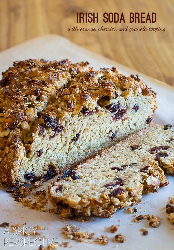 Sweet Irish Soda Bread with Cherries and Granola Topping #irish #sodabread