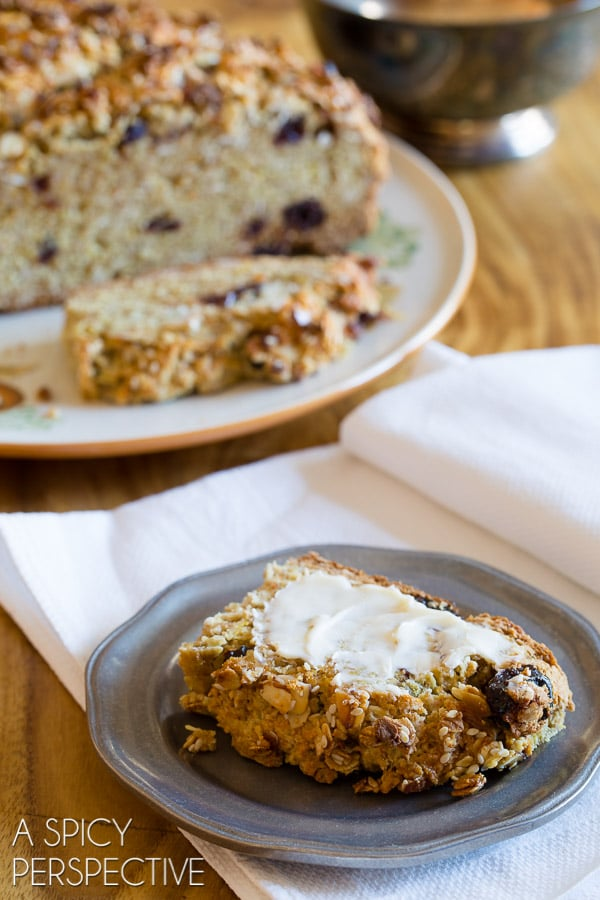 The Absolute BEST Irish Soda Bread with Cherries and Granola Topping #irish #sodabread