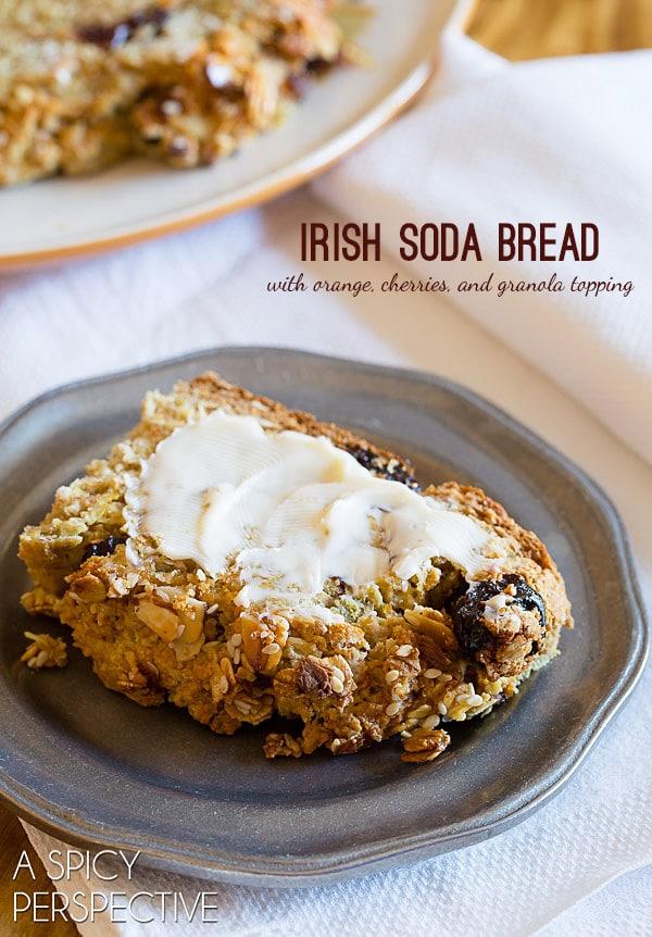 The BEST Irish Soda Bread with orange, cherries, and granola topping #irish #sodabread