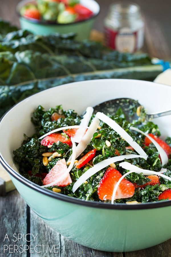 Spring Kale Salad with Pecorino, Strawberries, and Pine Nuts