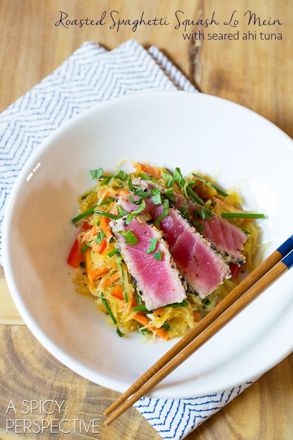 Roasted Spaghetti Squash Lo Mein with Seared Ahi #healthy