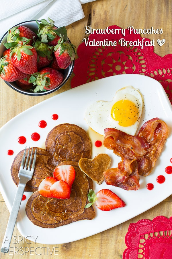 Strawberry Pancakes Valentine Breakfast (Pancake Art) #valentinesday
