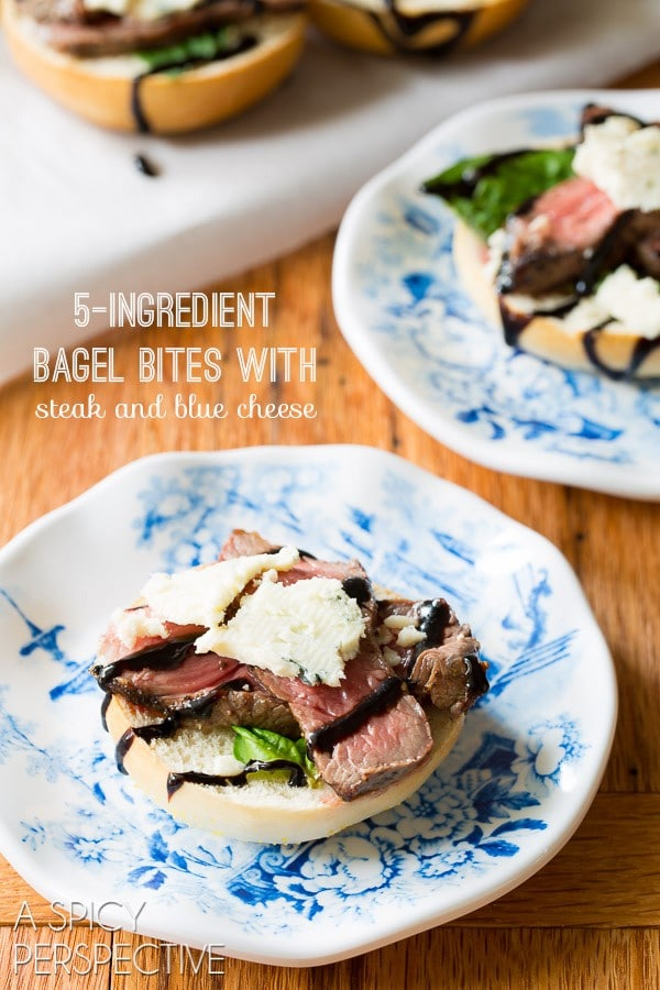 5-Ingredient Bagel Bites with steak and blue cheese on ASpicyPerspective.com