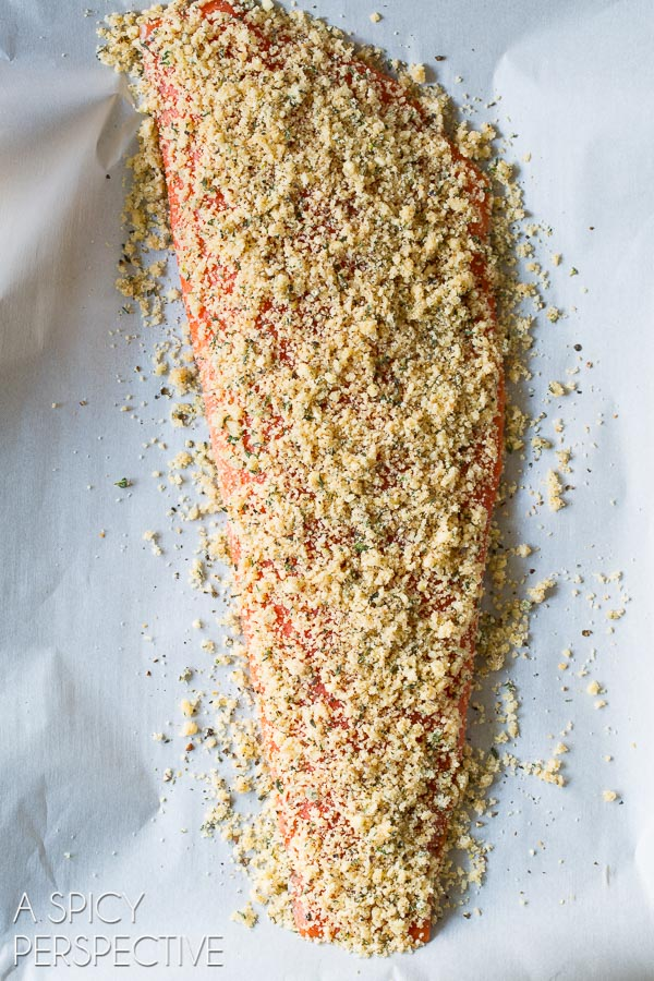 Easy 6-Ingredient Oven Baked #Salmon with Parmesan Herb Crust on ASpicyPerspective.com