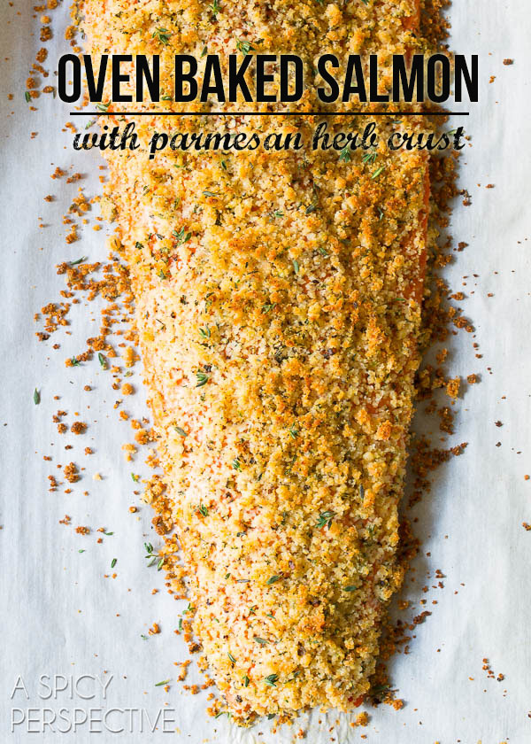 Tender 6-Ingredient Oven Baked #Salmon with Parmesan Herb Crust on ASpicyPerspective.com