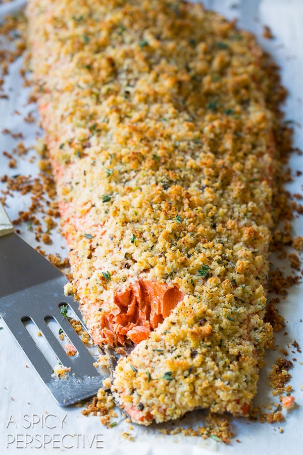 oven baked salmon recipe with parmesan herb crust. Black Bedroom Furniture Sets. Home Design Ideas