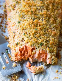 Oven Baked Salmon with Parmesan Herb Crust on ASpicyPerspective.com #salmon
