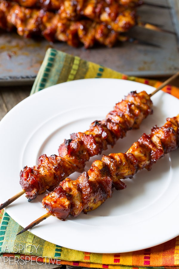 Grilled 5-Ingredient Chipotle BBQ Chicken Skewers #5ingredients #grilled #kebabs