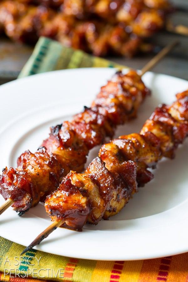 Juicy 5-Ingredient Chipotle BBQ Chicken Skewers #5ingredients #grilled #kebabs