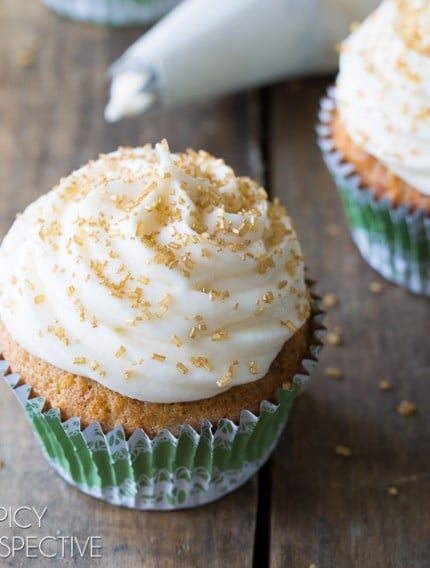 Hummingbird Cake Cupcakes with Sour Cream Frosting on ASpicyPerspective.com #cupcakes #southern