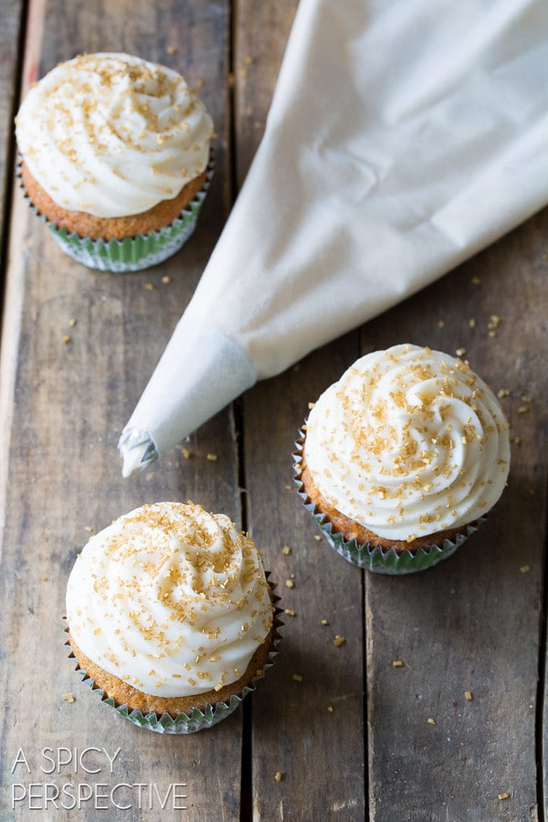 "The Best ""Hummingbird Cake"" Cupcakes with Sour Cream Frosting on ASpicyPerspective.com #cupcakes #southern"