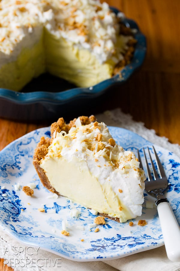 Silky Lemon Cream Pie Recipe on ASpicyPerspective.com #pie #spring #easter