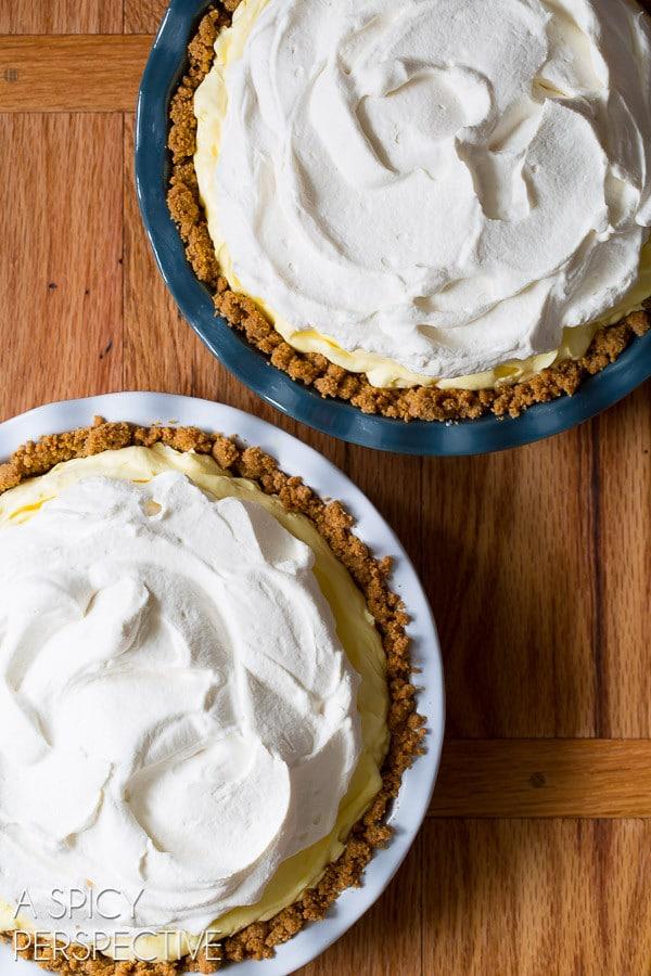 Making Lemon Cream Pie Recipe with Graham Cracker Crust on ASpicyPerspective.com #pie #spring #easter