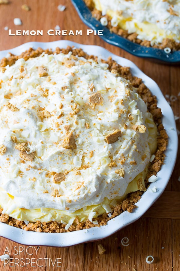 Fluffy Lemon Cream Pie Recipe on ASpicyPerspective.com #pie #spring #easter