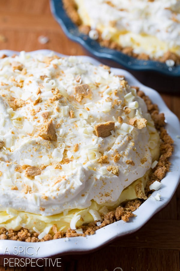 The Best Lemon Cream Pie Recipe on ASpicyPerspective.com #pie #spring #easter