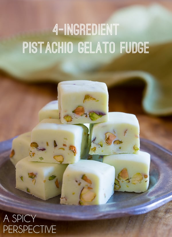 4-Ingredient Pistachio Gelato Fudge - Tastes like Italy - Green for Saint Patrick's Day!