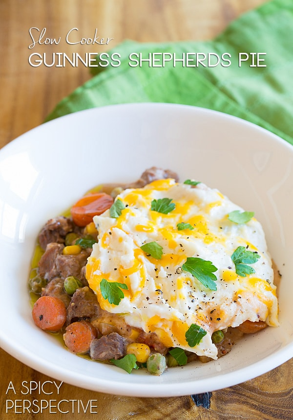 Slow Cooker Shepherds Pie Recipe with Guinness on ASpicyPerspective.com #irish #slowcooker #crockpot
