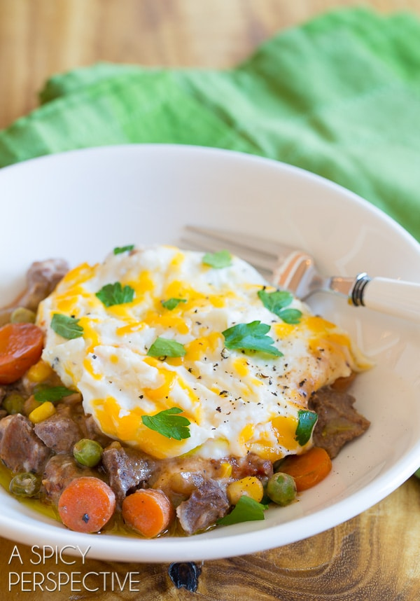 Authentic Slow Cooker Shepherds Pie Recipe with Guinness on ASpicyPerspective.com #irish #slowcooker #crockpot