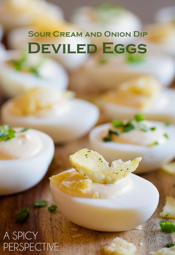 Creamy 6-Ingredient Sour Cream and Onion Dip Deviled Egg Recipe #easter #spring #deviledeggs