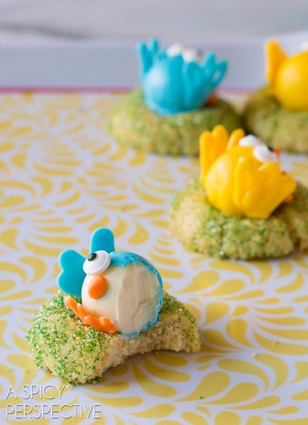 Delicious White Chocolate Citrus Chick Cookies (with a truffle in the middle!)
