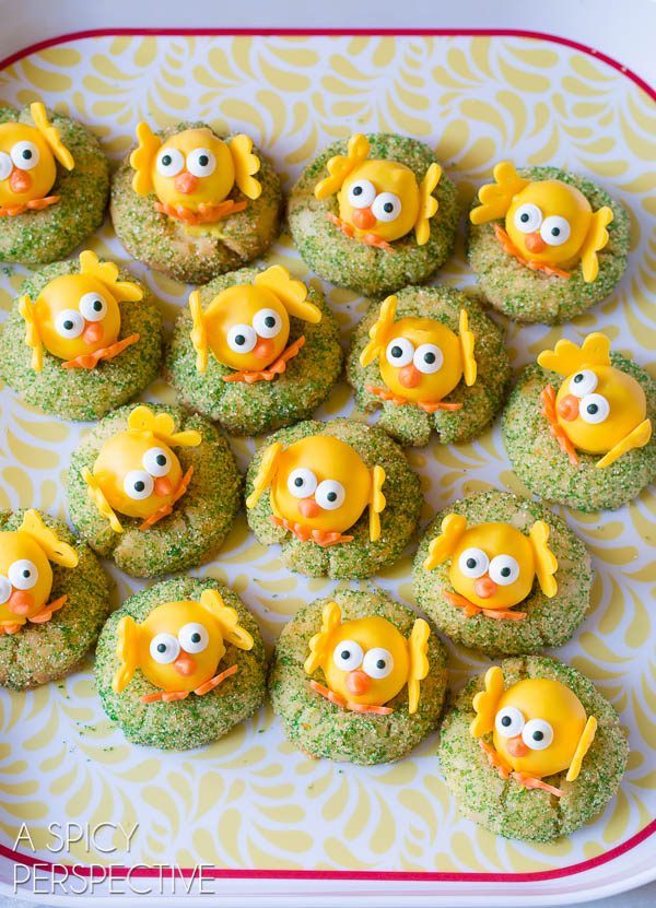 White Chocolate Citrus Easter Chick Cookies (with a truffle in the middle!)